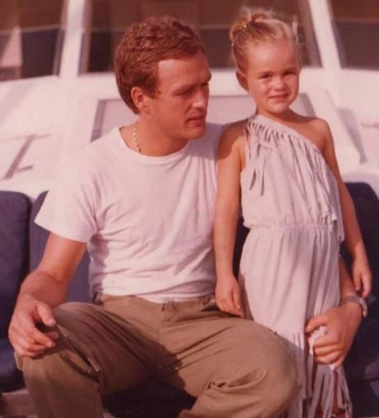 Laeticia Hallyday et son père André Boudou, à la fin des années 70