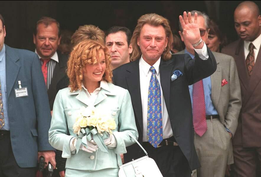 Mariage de Laeticia et Johnny Hallyday, à Neuilly-sur-Seine, le 25 mars 1996