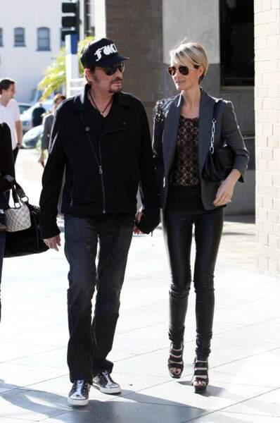 Laeticia et Johnny Hallyday, à Los Angeles, en 2009
