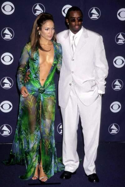 Jennifer Lopez et Puff Daddy aux Grammy Awards en février 2000