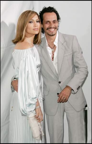 Jennifer Lopez et Marc Anthony en avril 2005, au Mann Theatre à Los Angeles