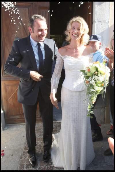 Jean Dujardin et Alexandra Lamy, le 25 juillet 2009 dans les Cévennes