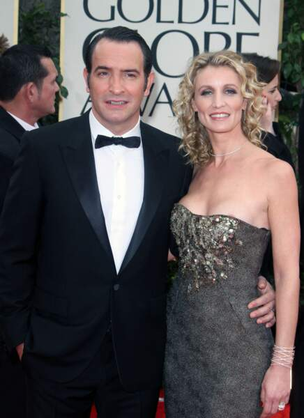 Jean Dujardin et Alexandra Lamy, aux Oscars en 2012, à Los Angeles.