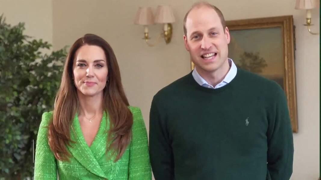 Kate et William souhaitent en visioconférence une joyeuse Saint-Patrick aux Irlandais le 17 mars 2021