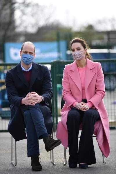 """Kate et William visitent l'école """"School 21"""" à Londres, le 11 mars 2021."""