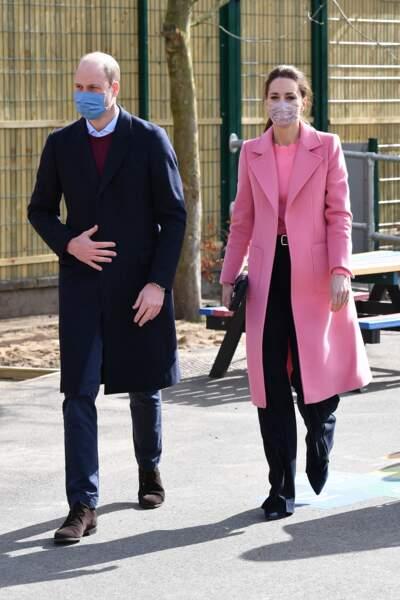 Kate et William en visite à la School 21 de Londres, le 11 mars 2021. Une venue fortement appréciée par les enseignants