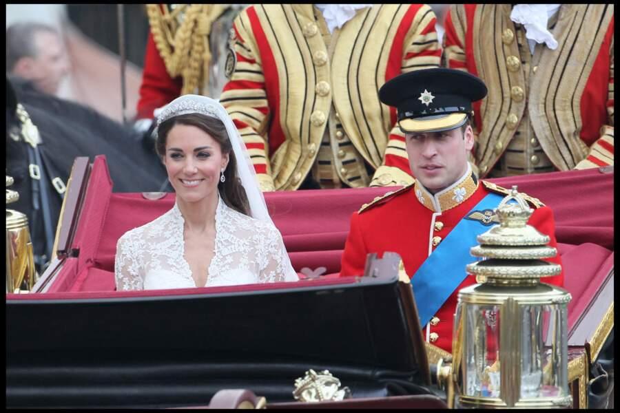 Kate Middleton et le prince William lors de leur mariage en 2011