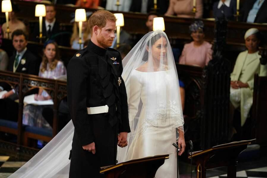 Meghan Markle et le prince Harry durant leur mariage le 19 mai 2018