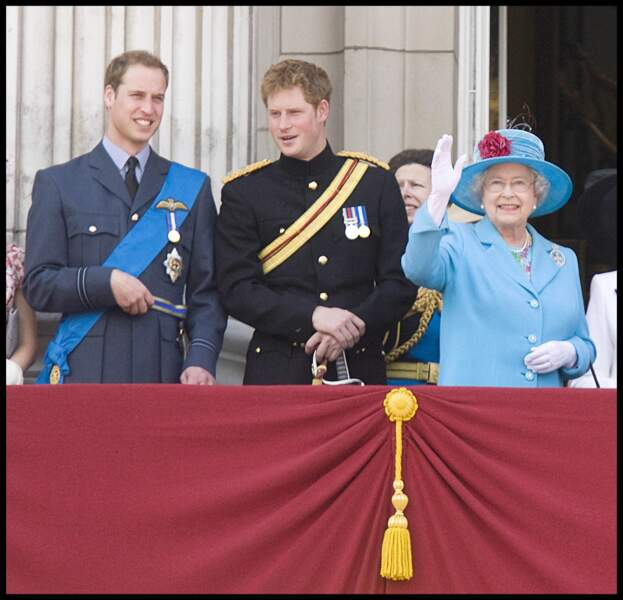 William, Harry et la reine Elizabeth II
