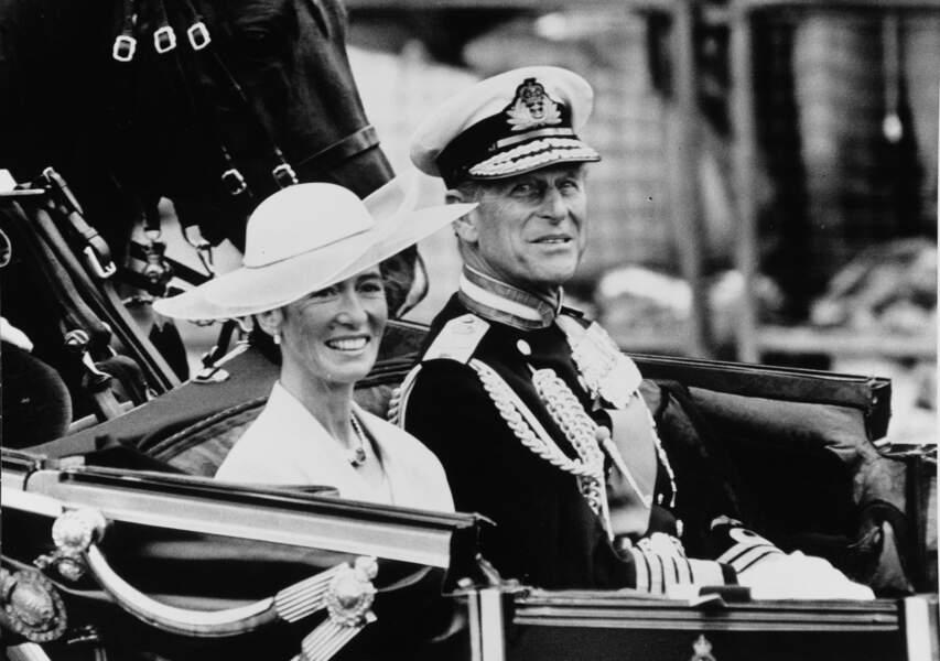 Susan Barrantes et le prince Philip en juillet 1986