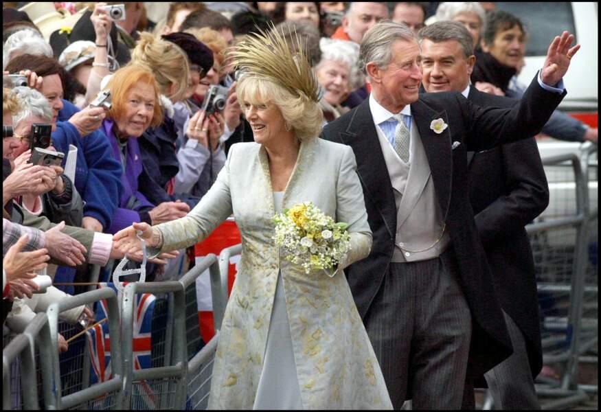 Camilla Parker Bowles et le prince Charles lors de leur mariage le 9 avril 2005