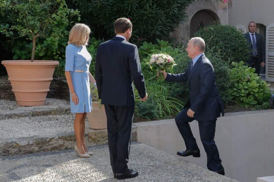 Le président de la République française reçoit le président de la fédération de Russie au fort de Brégançon, à Bormes-les-Mimosas, France, le 19 août 2019.
