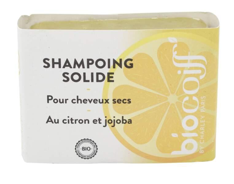 Shampoing solide au citron et jojoba bio, Biocoff, Pain de 100 g : 11,90 €, sur biocoiff.com