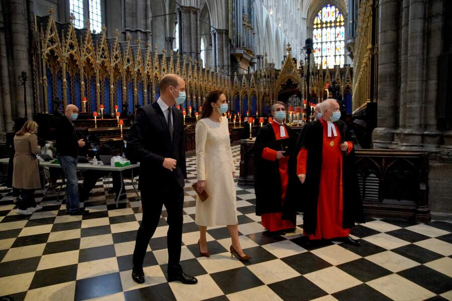 Le prince William et Kate Middleton lors d'une visite au centre de vaccination de l'abbaye de Westminster à Londres, le 23 mars 2021.