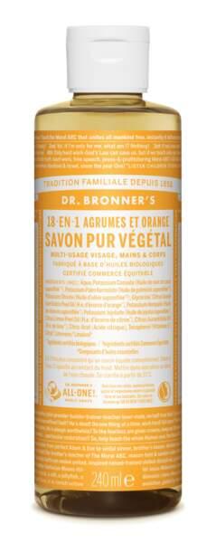 18-en-1 : Savon Liquide Pur Végétal Agrumes Dr. Bronner's, 9,99€, en boutiques bio