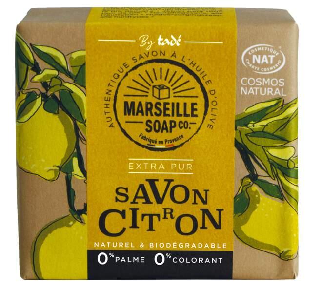 Marseille soap citron Certifié Cosmos Nat, Tadé, Pain de 100 g : 4,50 €,  sur tade.com