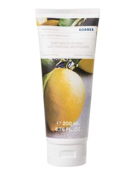 Lait Corp Basilic Citron; Korrès, 200 ml, 13,90€, en pharmacies et sur korres.fr