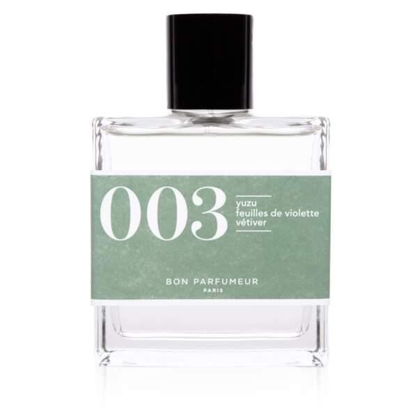 Eau de parfum 003 au yuzu, feuilles de violette et vétiver, Bon Parfumeur,100ml - 82€ - www.bonparfumeur.com