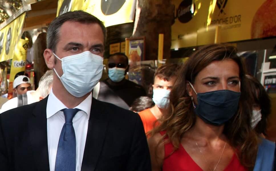 Olivier Véran et Coralie Dubost, le 11 août 2020 à la Grande-Motte