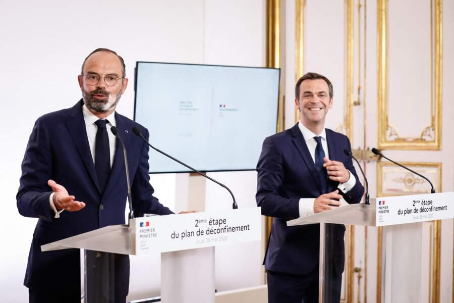 Edouard Philippe et Olivier Véran à l'hôtel Matignon, le 28 mai 2020