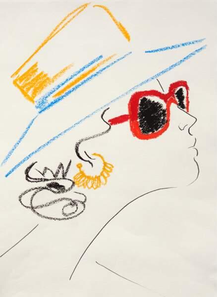 Chapeau, lunettes de soleil et boucles d'oreilles se colorent