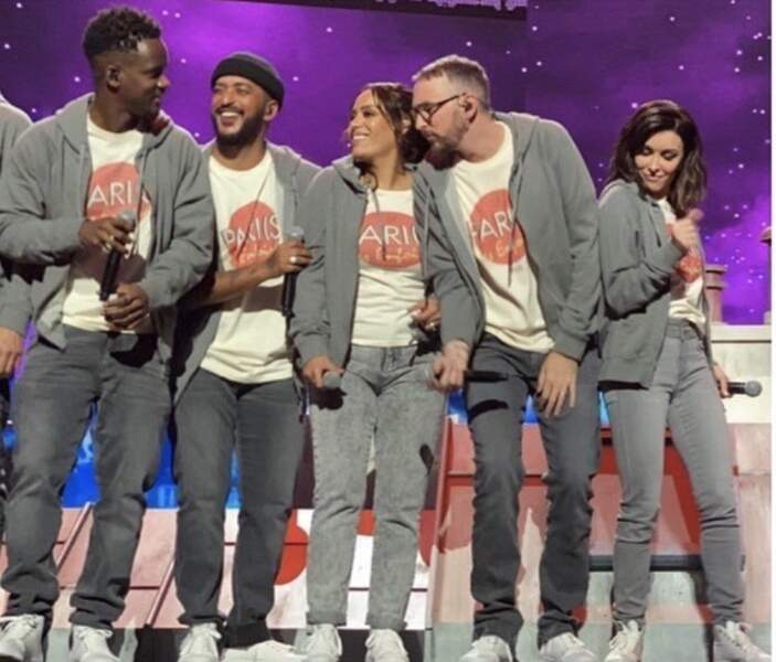 Amel Bent, Jenifer, Slimane et Christophe Willem, lors de l'enregistrement des Enfoirés, le 20 janvier 2020.