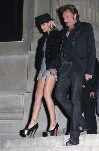 Johnny Hallyday et Laeticia au vernissage de l'exposition 'La Petite Veste Noire' au Grand Palais a Paris le 9 Novembre 2012