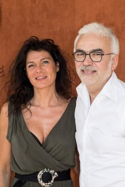 Pascal Praud et sa compagne Catherine au tournoi de Roland-Garros à Paris, le 1er juin 2019