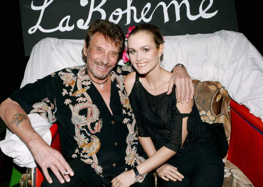 Johnny et Laeticia Hallyday à Marrakech, pour l'ouverture du restaurant La Bohème, le 13 octobre 2003