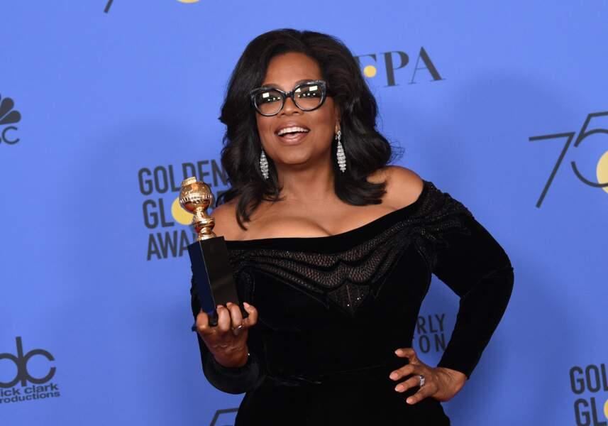 Oprah Winfrey lors de la 75ème cérémonie annuelle des Golden Globe Awards au Beverly Hilton Hotel à Los Angeles, le 7 janvier 2018