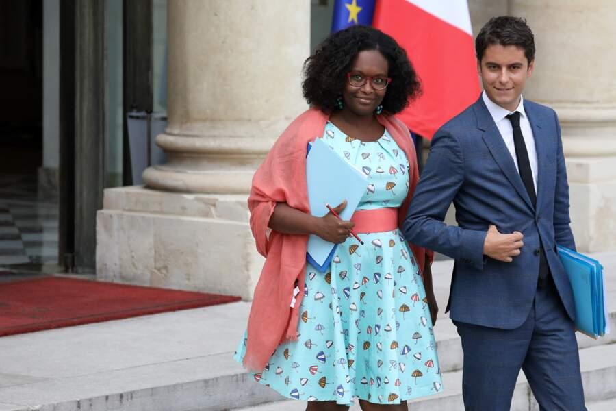 Sibeth Ndiaye et Gabriel Attal, à la sortie du Conseil des ministres, au palais de l'Élysée, le 19 juin 2019.