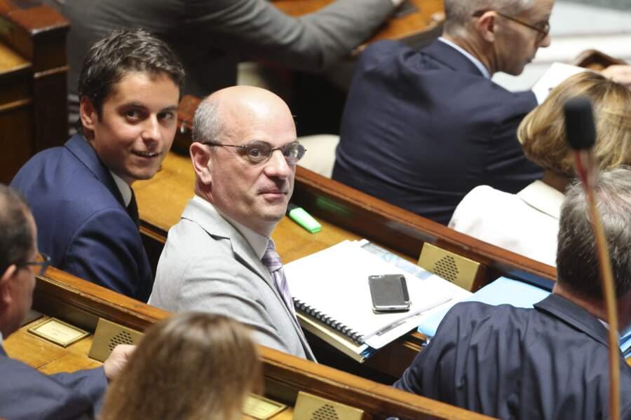Gabriel Attal et Jean-Michel Blanquer, lors d'une séance de questions au gouvernement à l'Assemblée Nationale, le 23 juillet 2019.