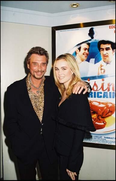 """Johnny et Laeticia Hallyday à la première du film """"Cuisine américaine"""", le 29 octobre 1998"""