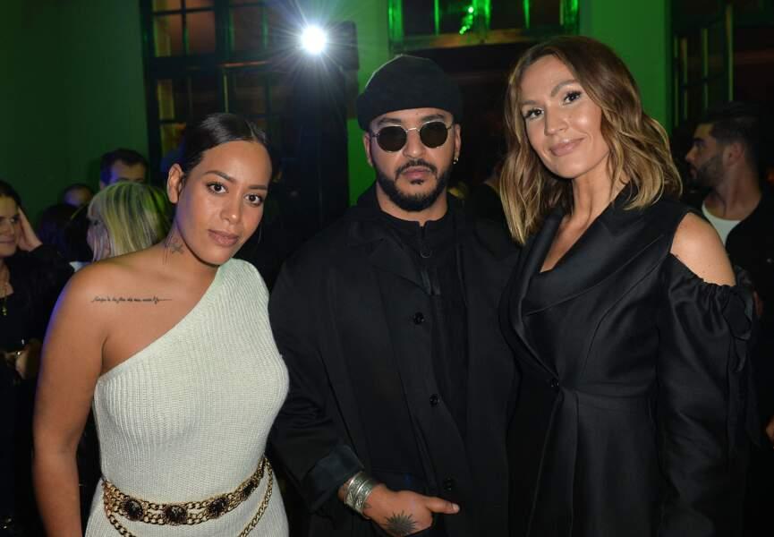 """Amel Bent, Slimane et Vitaa lors de la soirée de lancement de la collection capsule """"I'm not a rapper"""" de la marque Elevenparis, à Paris, le 11 avril 2019"""