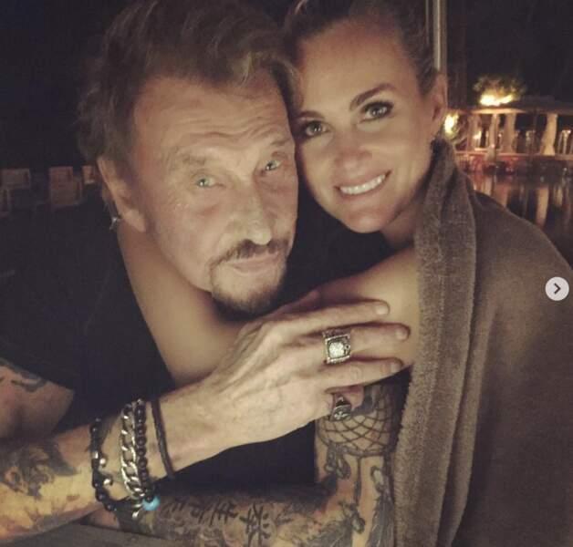 Laeticia Hallyday et Johnny. Photo postée le 14 février 2019