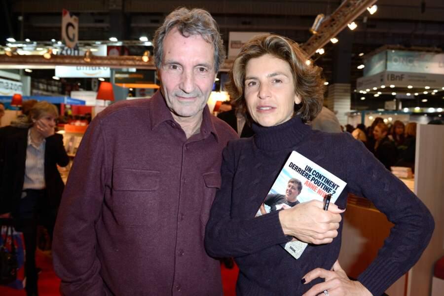 Jean-Jacques Bourdin et Anne Nivat au Parc des Expositions à Paris le 17 mars 2018