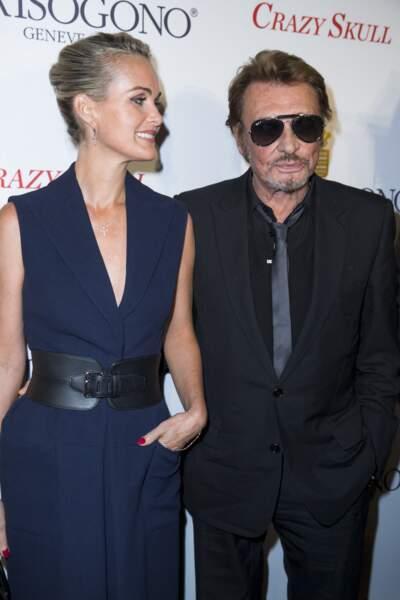 Johnny et Laeticia Hallyday à l'inauguration du Show Room Parisien De Grisogono à Paris le 23 octobre 2014.