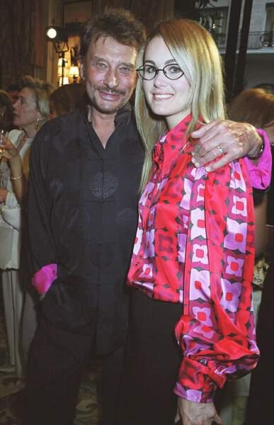 Johnny et Laeticia Hallyday lors de la remise de la légion d'honneur à Daniel Tribouillard, le 13 septembre 2001