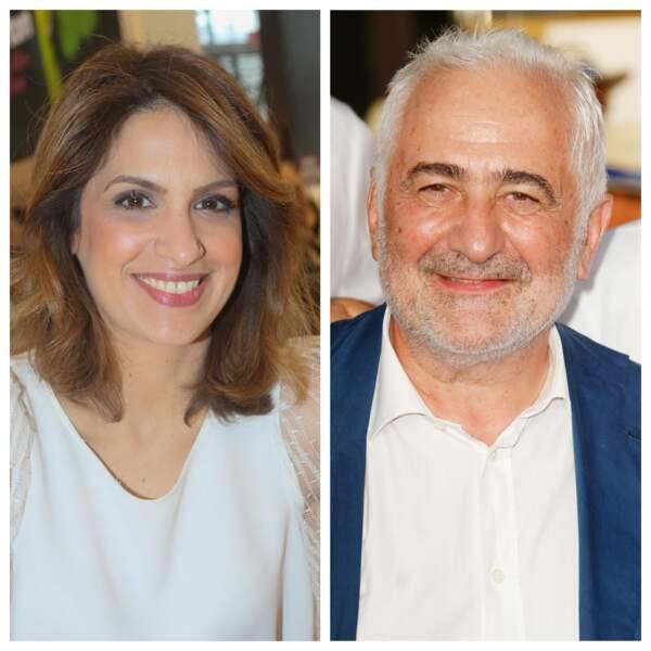 Sonia Mabrouk à la Porte de Versailles à Paris le 26 mars 2017 et Guy Savoy à Paris le 27 juin 2019