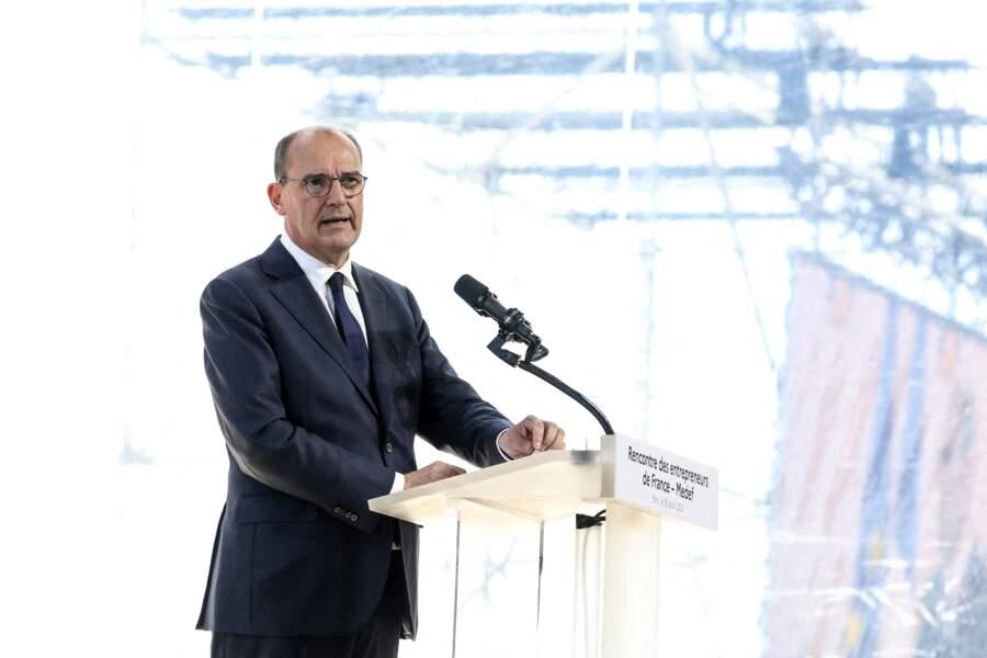 Jean Castex assiste à la Rencontre des Entrepreneurs de France (REF) à l'Hippodrome de Longchamp, à Paris, le 26 août 2020.