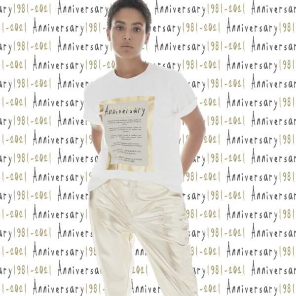 T-shirt anniversaire pour célébrer les quarante ans de Marina Rinaldi