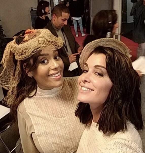 Amel Bent et Jenifer lors de l'enregistrement des Enfoirés, le 20 janvier 2020.