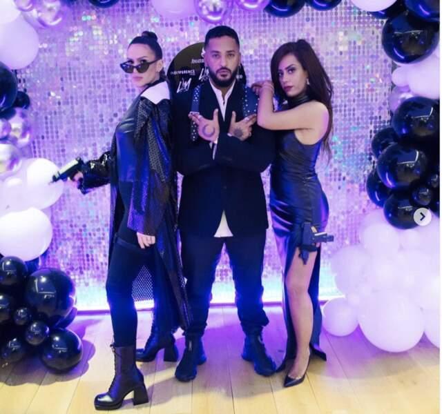Amel Bent, Vitaa et Slimane lors d'une soirée, à Paris, le 19 février 2021.