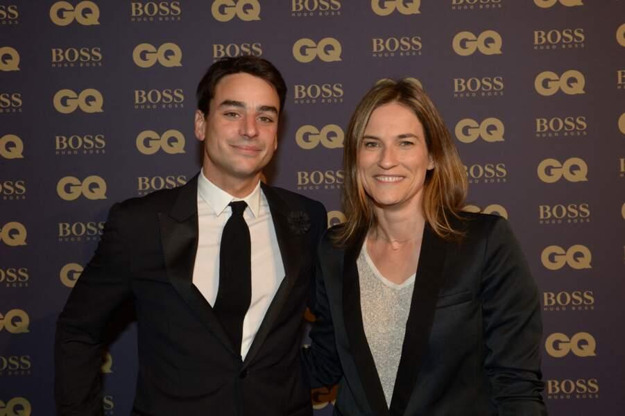 """Julian Bugier et sa femme Claire Fournier lors de la soirée """"L'homme de l'année GQ 2014"""" au Musée d'Orsay, à Paris le 19 novembre 2014"""