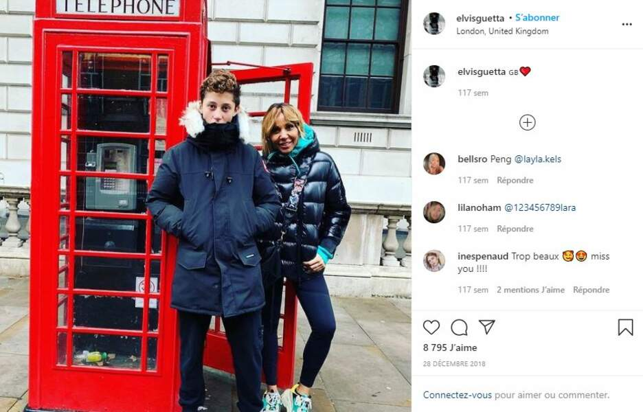 Elvis Guetta à Londres avec sa mère, le 28 décembre 2018