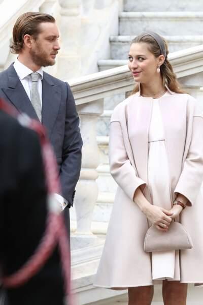 Pierre Casiraghi et sa femme Beatrice Borromeo, enceinte de leur premier fils, lors de la fête Nationale monégasque à Monaco, le 19 novembre 2016.