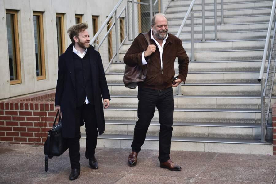 Les avocats Antoine Vey et Éric Dupond-Moretti au tribunal de Bobigny, le 20 septembre 2019.