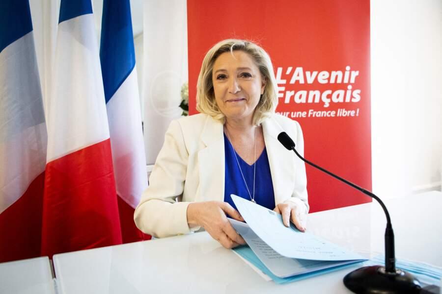 """Marine Le Pen au lancement du mouvement """"L'Avenir Français"""", à Paris, le 22 mars 2021."""