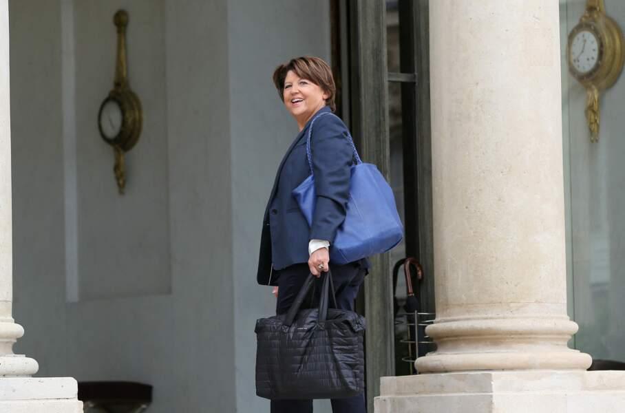 Martine Aubry, lors d'un déjeuner au Palais de l'Elysée, à Paris, le 11 septembre 2014.