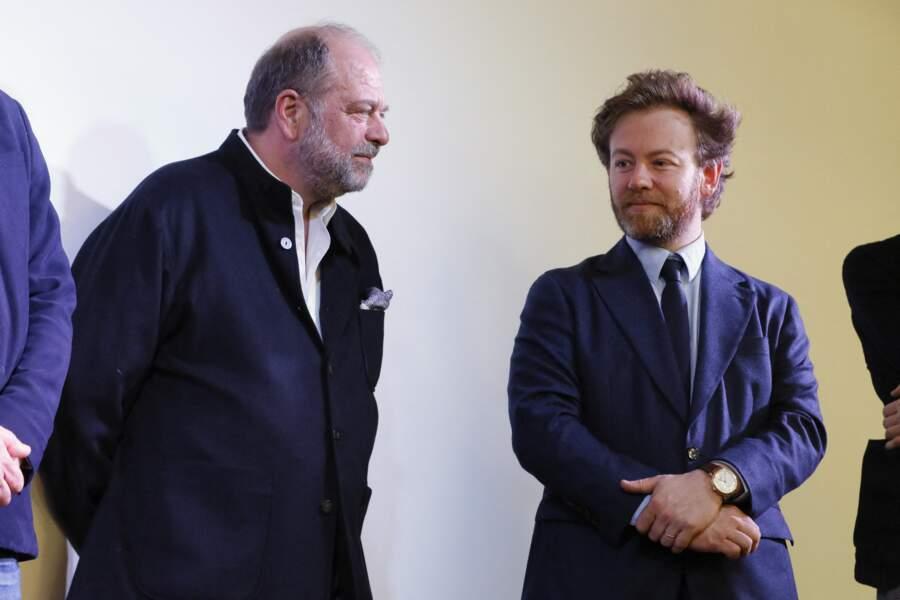 """Éric Dupond-Moretti au côté de Me Antoine Vey, à la conférence de presse des avocats de Julien Assange, à l'espace """"Morning Sentier"""", à Paris, le 20 février 2020."""
